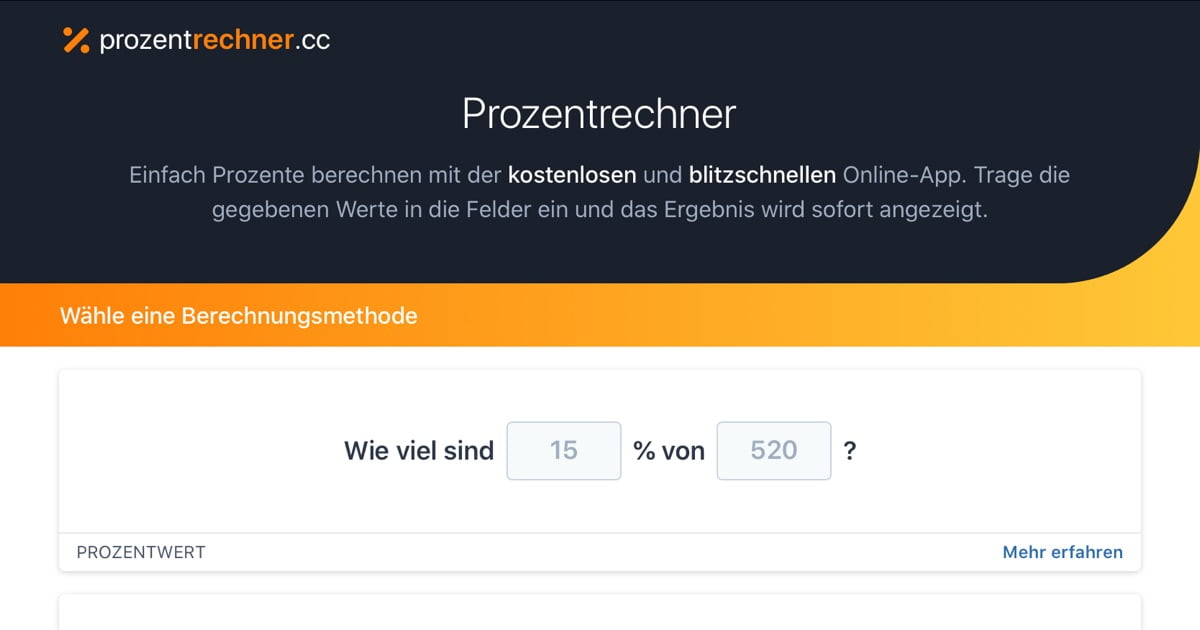 Prozentrechner Deutsch